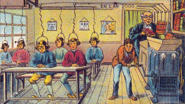 Feature Image: France in 2000 year (XXI century). Future school. By Jean Marc Cote (if 1901) or Villemard (if 1910)