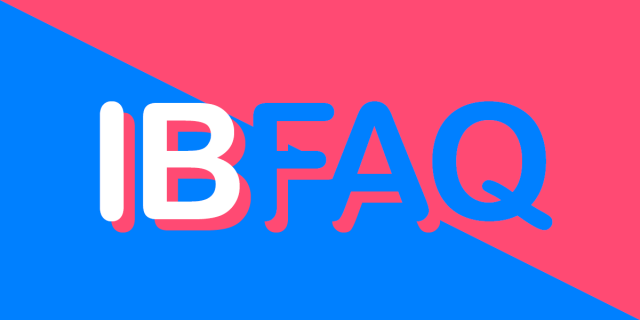 IB FAQ on a pink and blue background